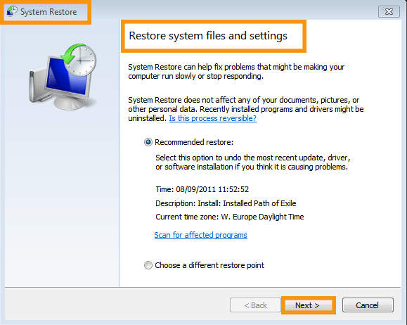 Restore the System to a Previous Restore Point