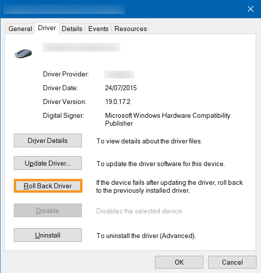 Roll Back the Changes in the Device Manager