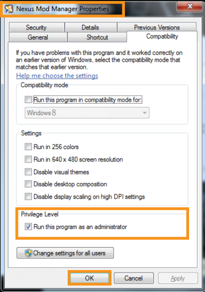 Run Nexus Mod Manager as Administrator