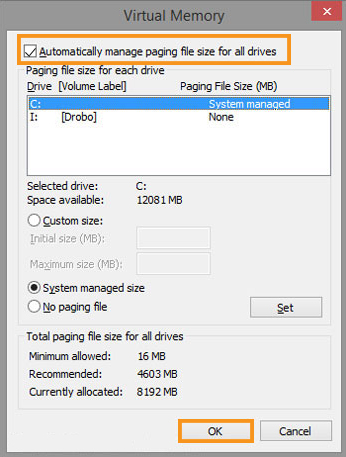 Set Paging File Management to Automatic