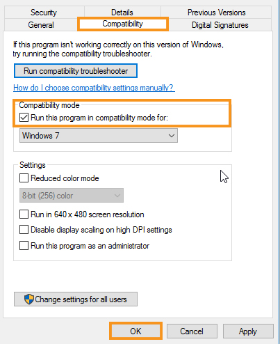 Try Installing the Driver in Compatibility Mode