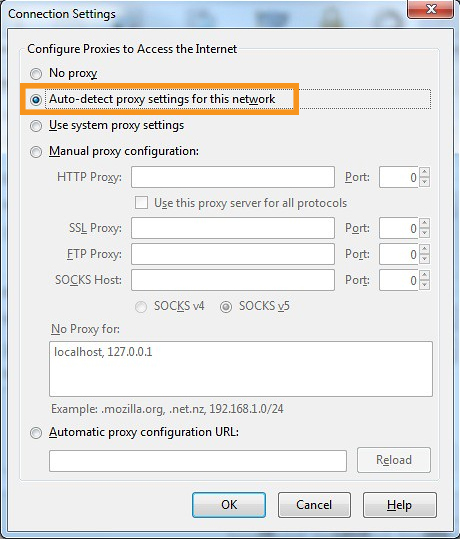 Turn On 'Auto-Detect Proxy' and Refresh Mozilla Firefox