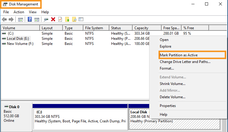 Turn the Local Disk C into the Active Partition