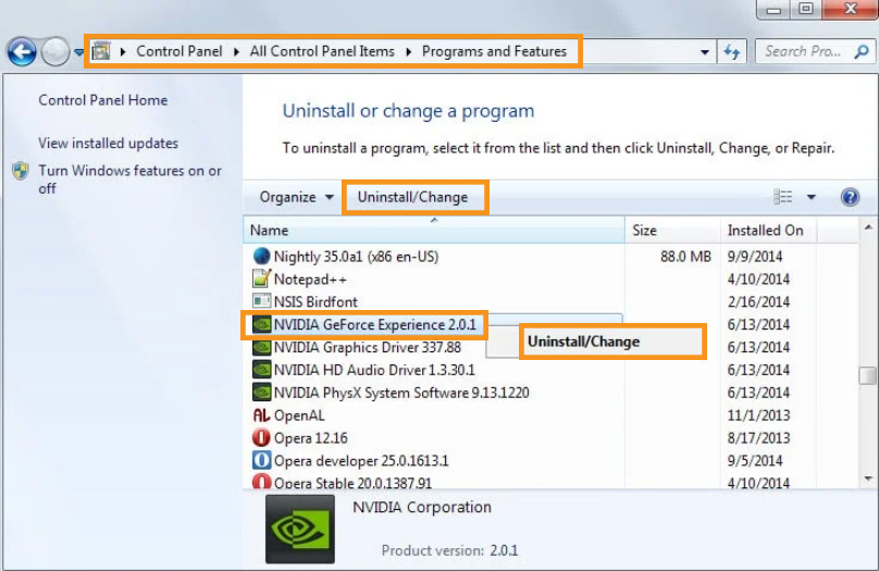 Uninstall and Reinstall the Geforce Application