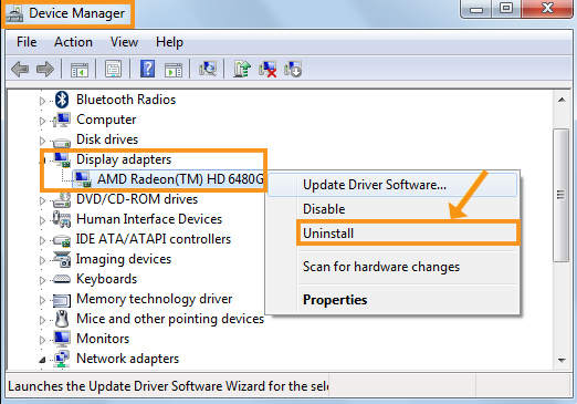 Uninstall the AMD Graphics Driver and Reinstall it