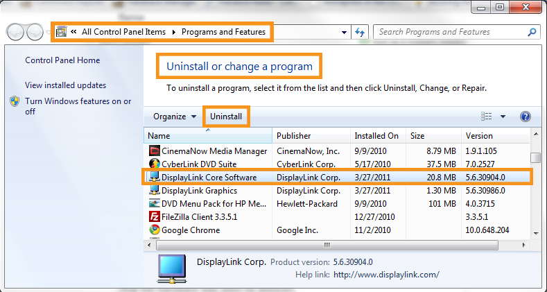 Uninstalling the Display Link Driver