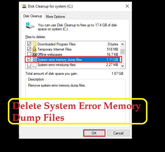 Delete System Error Memory Dump Files