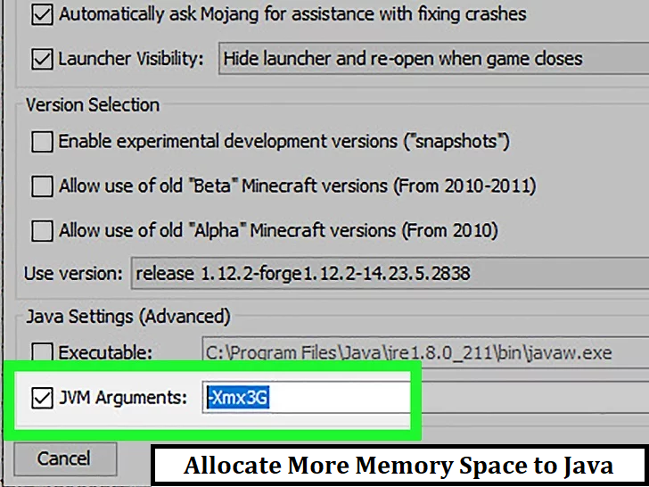 Allocate More Memory Space to Java
