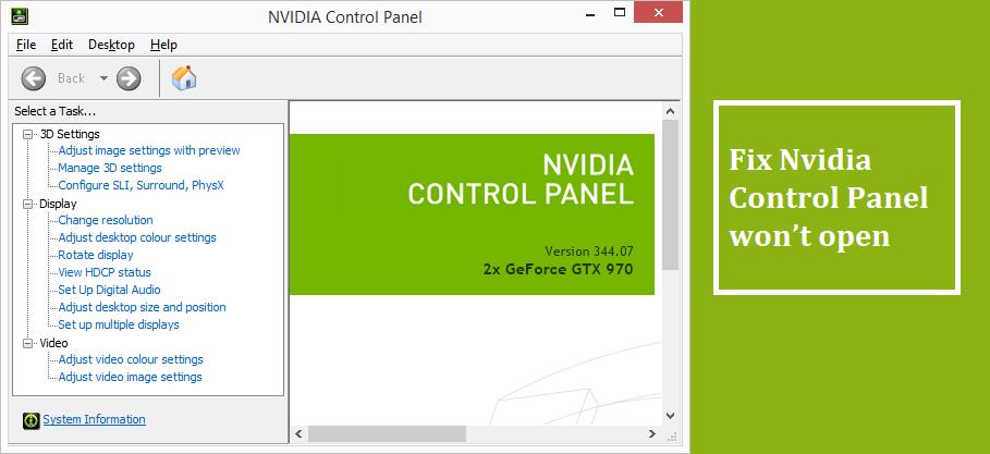 Nvidia Control Panel won't open