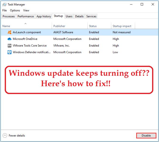 windows update keeps turning off